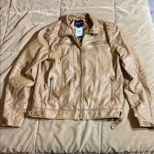 Guess Mens camel tan moto leather jacket BRAND NEW